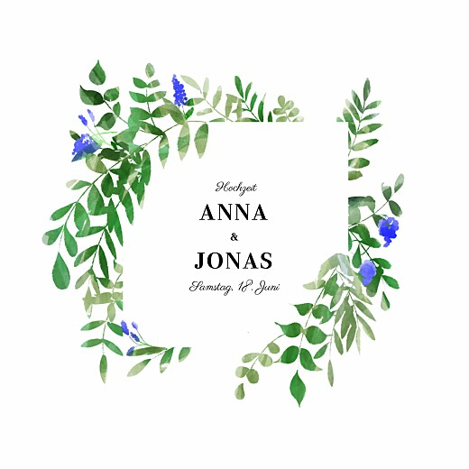 Hochzeitseinladungen Efeuzauber blau