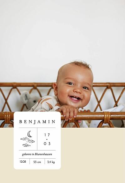 Geburtskarten Steckbrief beige finition