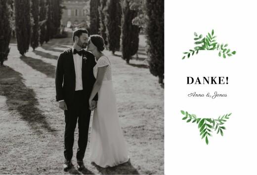 Dankeskarten Hochzeit Efeuzauber (lang) grün