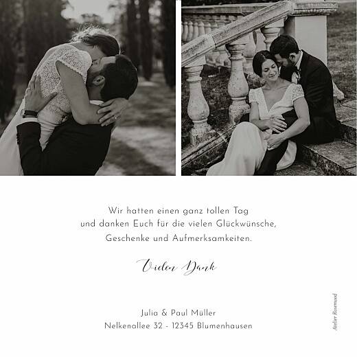 Dankeskarten Hochzeit Zweiglein weiß - Seite 2