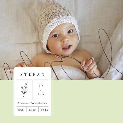 Geburtskarten Steckbrief (klappkarte) grün