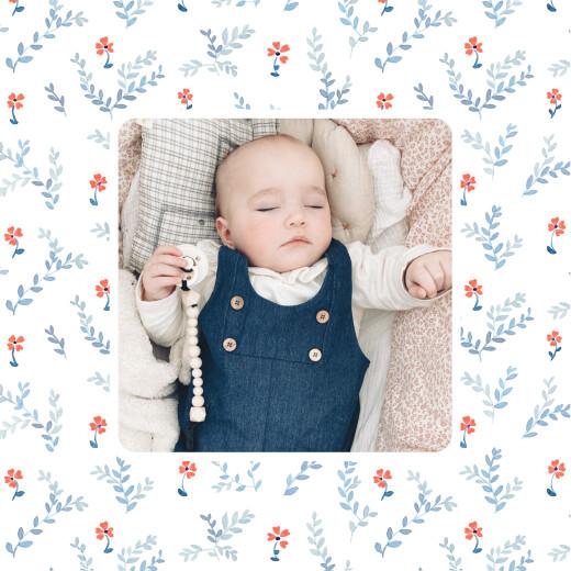 Geburtskarten Frühlingsblümchen (klappkarte) blau