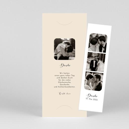 Dankeskarten Hochzeit Raffinesse (fotostreifen) beige - Ansicht 1