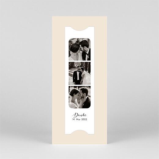Dankeskarten Hochzeit Raffinesse (fotostreifen) beige - Ansicht 2