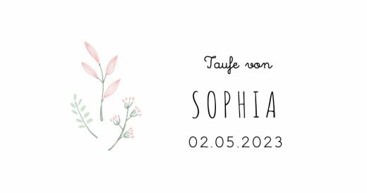 Platzkarte Taufe Wiesenblume grün rosa
