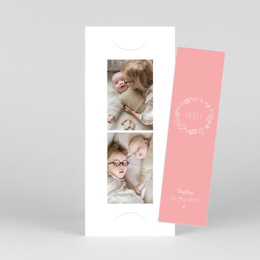 Taufeinladungen Wiesenblume (fotostreifen) rosa - Ansicht 1