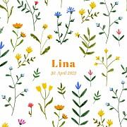 Geburtskarten Wildblumenwiese (leporello) weiß seite 1