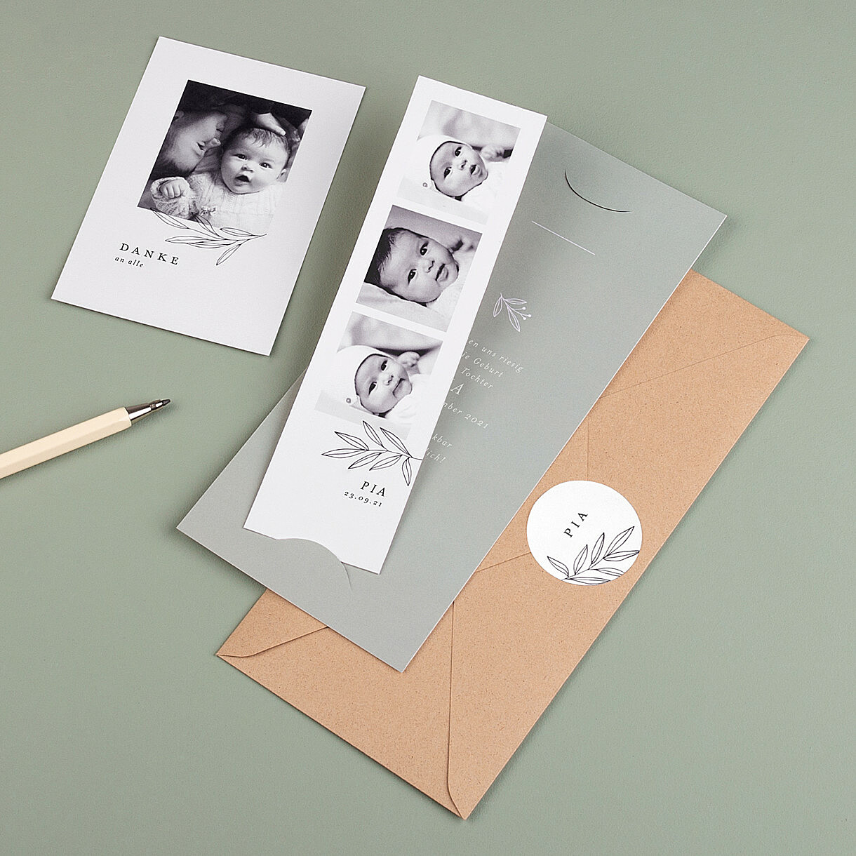 Geburtskarten atelier rosemood kostenloser probedruck