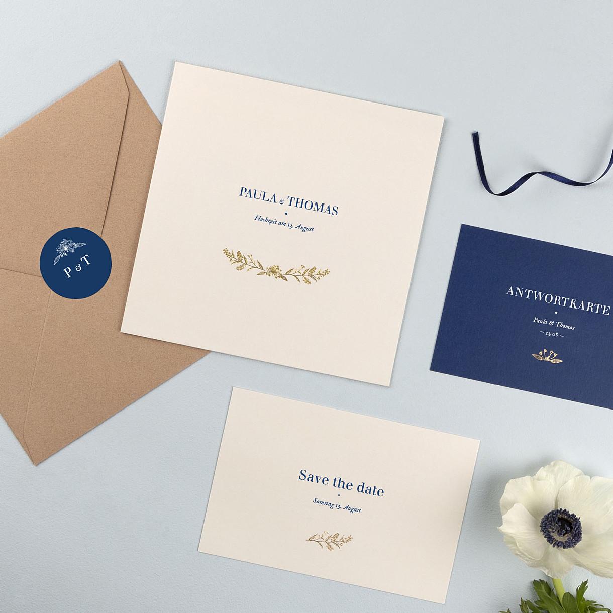 Hochzeitseinladungen naturnah (gold)
