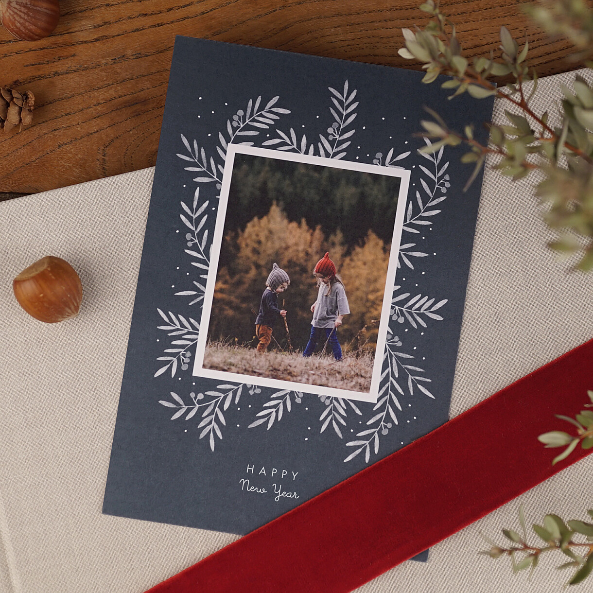 Weihnachtskarten kleine zweige hoch