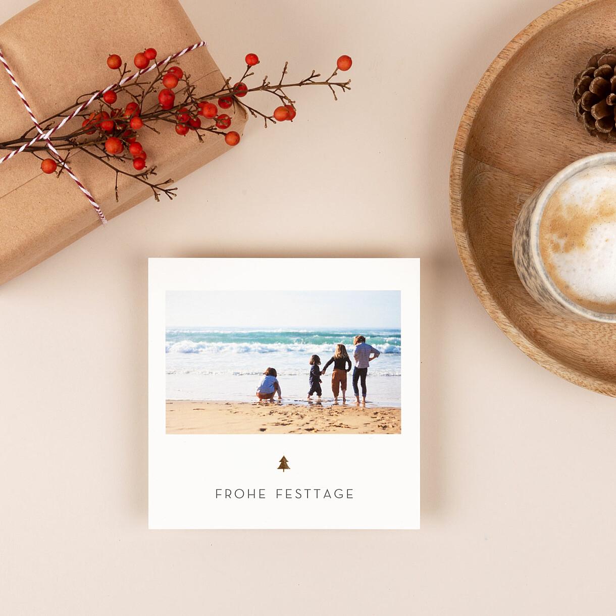 Weihnachtskarten elegant tannenbaum (gold)