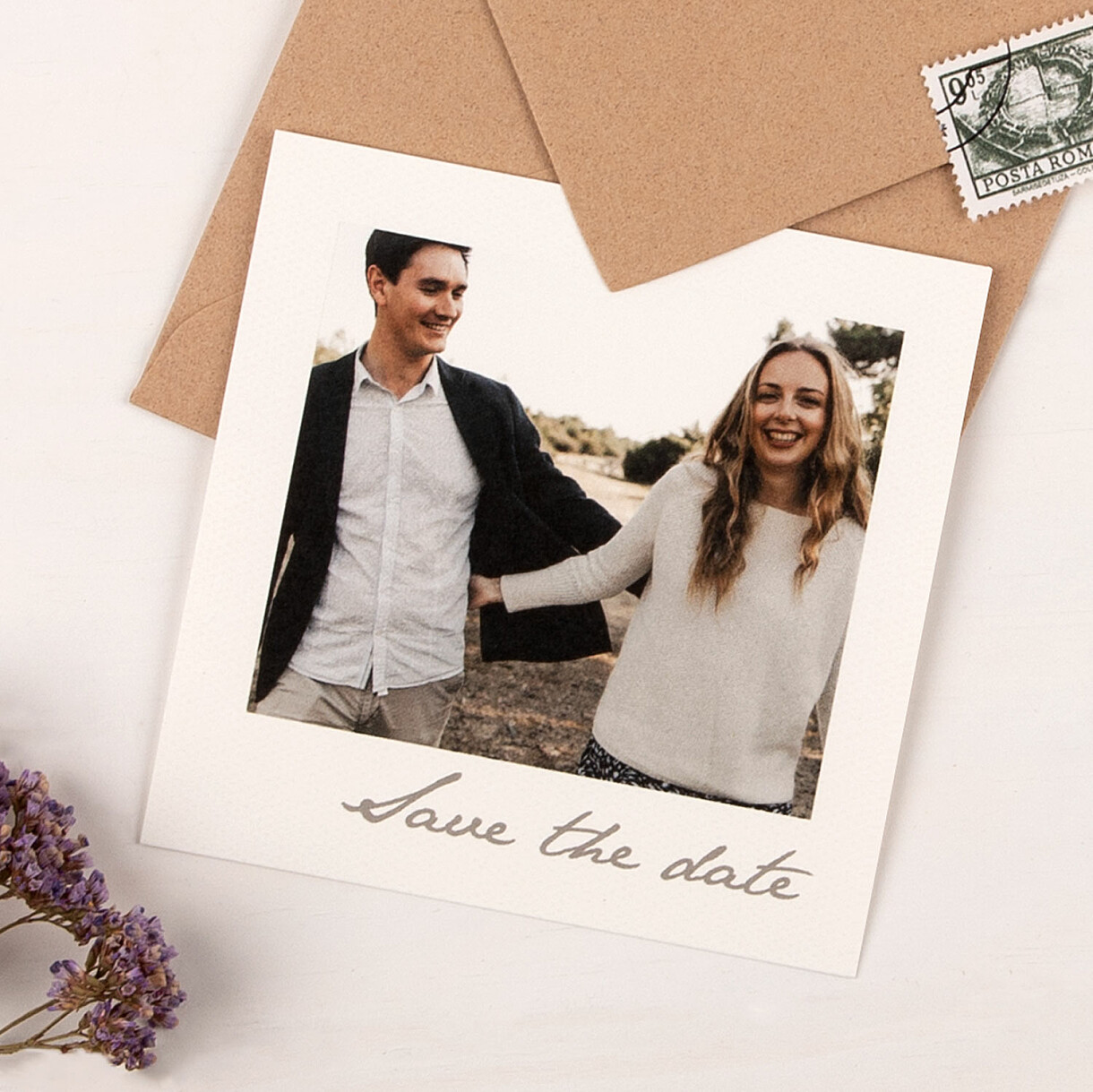 Save-the-date karten kleines polaroid
