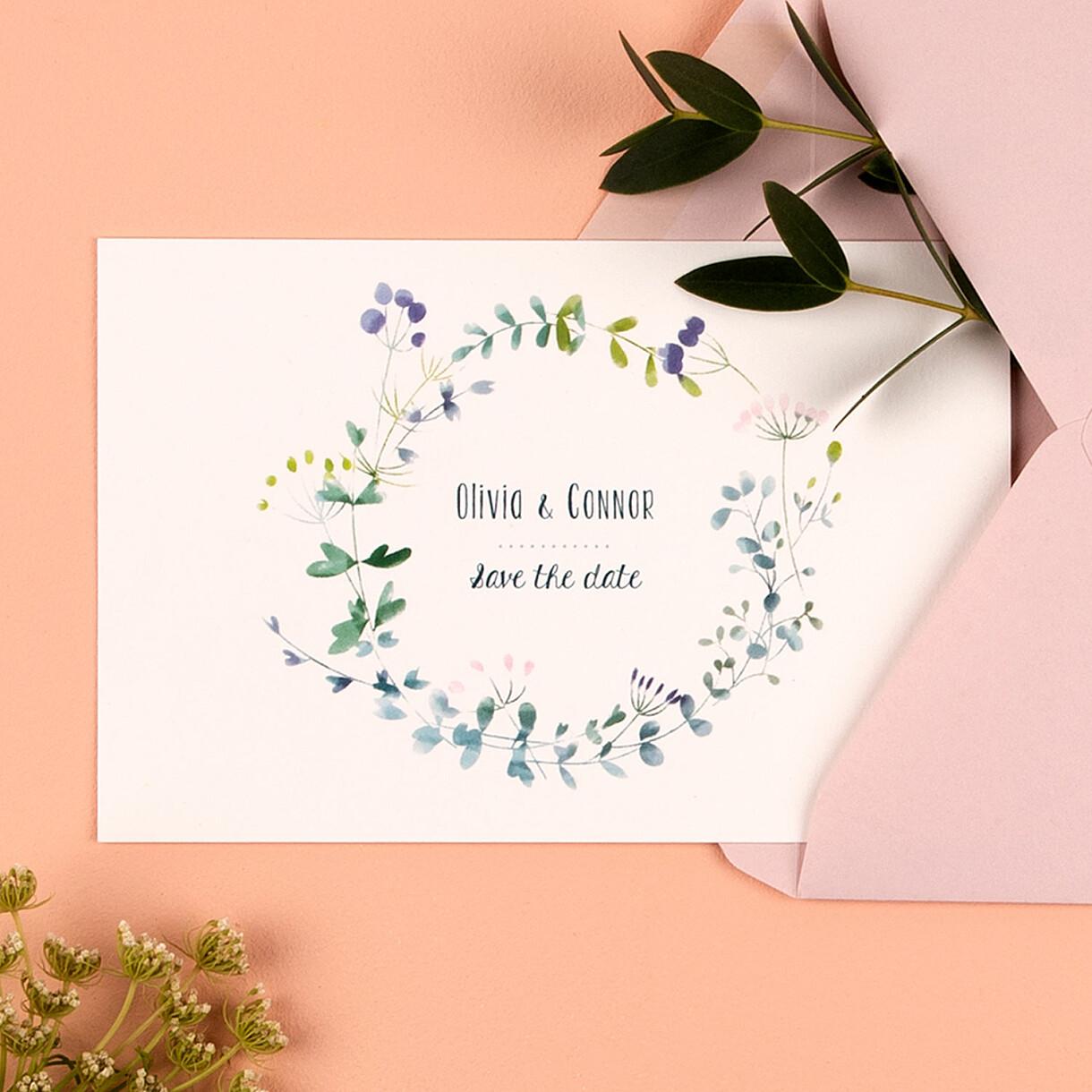 Save-the-date karten wildblumen