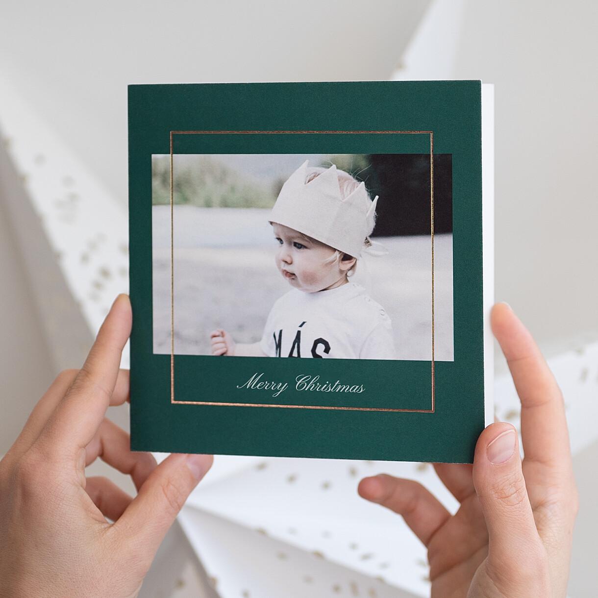Weihnachtskarten bilderrahmen klappkarte gold
