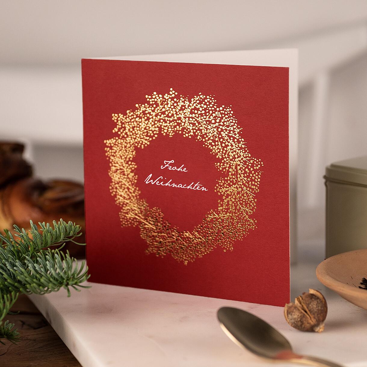 Weihnachtskarten geschäftlich schleier kranz