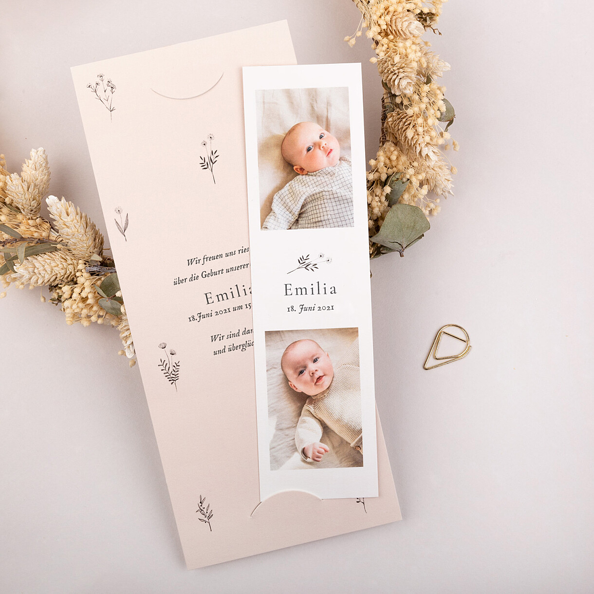 Geburtskarten floral minimal