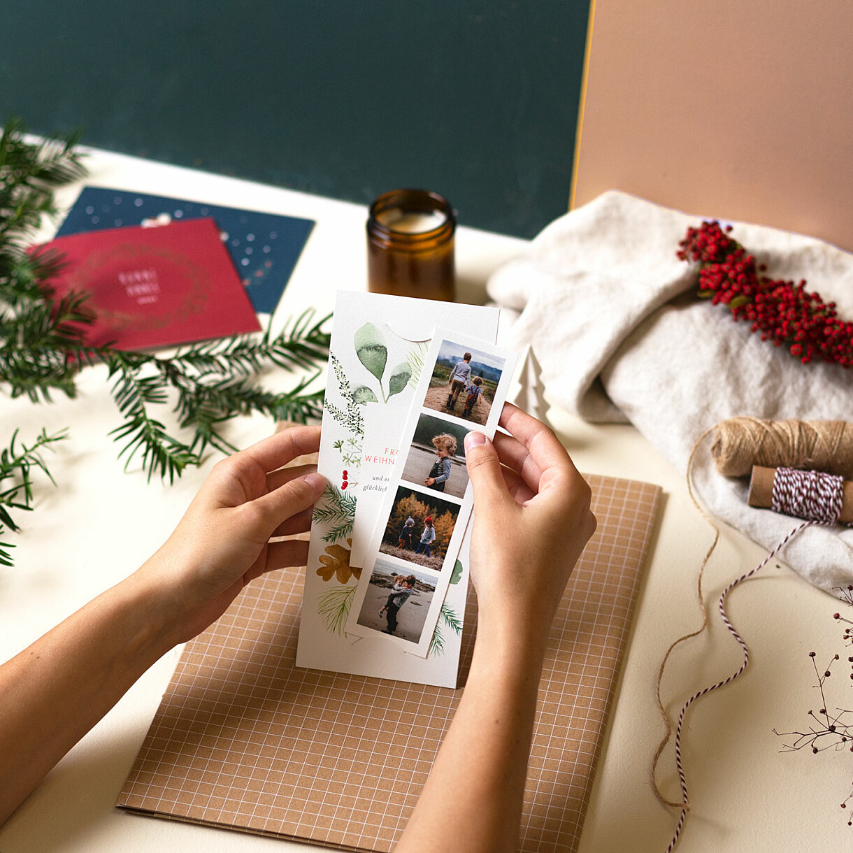 Weihnachtskarten blumen aquarell
