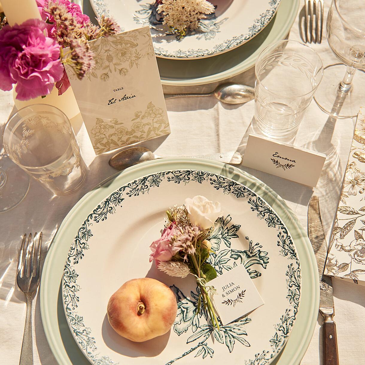 Tischkarten hochzeit blütenspiegelung